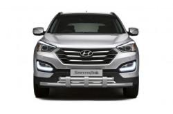 Защита переднего бампера двойная с пластинами Ø63 мм Hyundai Santa Fe III