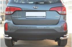 Защита заднего бампера двойные уголки D63/D42 для KIA Sorento II 2012-2014