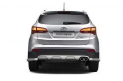 Защита заднего бампера угловая Ø51 мм Hyundai Santa Fe III