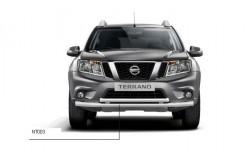 Защита переднего бампера двойная Ø63 мм Nissan Terrano 2014