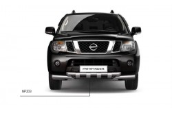 Защита переднего бампера двойная с зубьями Ø63 мм Nissan Pathfinder